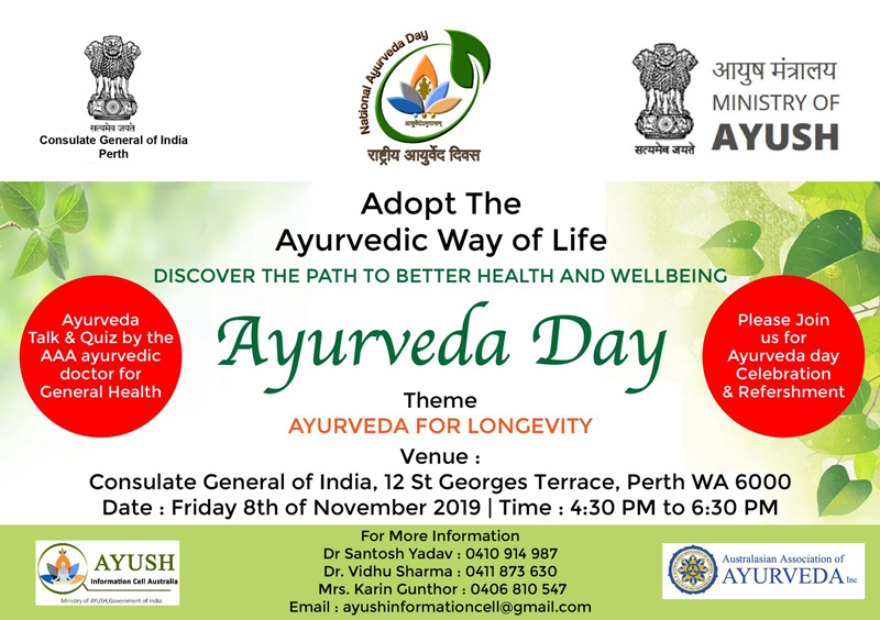 Ayurveda day at the Indian consulate, Perth on the 8th November 2019